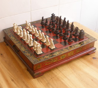 wood flower - Collectibles Vintage chess set Leather Wood Box Flower Bird Table