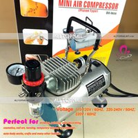 airbrush compressor oil - Portable Makeup Airbrush Mini Air Compressor V Piston Oil less Silent Spray Nail Art Air Brush