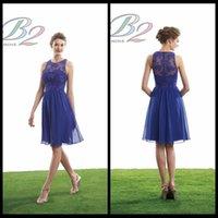 Wholesale Short Royal Blue Bridesmaid Dresses Cheap Scoop Neck Knee Length Chiffon Lace Bridesmaid Dresses
