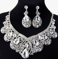 Wholesale Retro Vintage Designer Water Drop Wedding Jewelry Clear Austrian Crystal Rhinestone Earrings Necklace Jewelry Sets