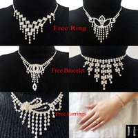 Wholesale Hot Selling Silver Plated Necklace Earrings Bracelet Ring Sets Rhinestone Wedding Accessories luxury Bridal Jewelry Set only