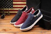 Wholesale Trendy Low Top Mens Flat Sneaker Shoes Red Blue Black Canvas Mens Low Top Sneaker Flats Fashion Men Casual Slip On Sport Sneaker