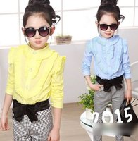 ruffle pants - Big Girls Sets Baby Kids Clothes Korean Children Clothing Girl Ruffle Long Sleeve Shirts Bow Plaid Pants White Yellow Blue Green I2925