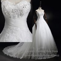 Wholesale Sweetheart Princess Wedding Dress China - Princess Wedding Dresses Real Photo Sweetheart White Appliques Beaded Ball Gown Lace Bridal Dress China Corset Back 2016 Z009