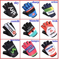 Wholesale 2014 sky sharp castelli orica bianchi lampre lotto Cycling Gloves cheap half finger breathable Bicycle Racing Gloves racing short gloves