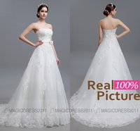 Wholesale 100 REAL IMAGE Wedding Dresses Backless Beach Lace Bridal Gowns Sheath Strapless Appliques Beaded Vintage Garden Court Train Bridal Dress
