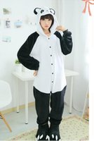adult fleece pajamas - New Cosplay Adult Cute Panda Sleepwears Coral Fleece Kigurumi Pajamas Anime Pyjamas Cosplay CostumeUnisex Onesie Dress Sleepwear