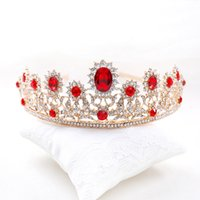 antique bridal necklace - 2016 Tiaras Crowns Wedding Tiaras Earrings Necklace Pearls Red Rhinestones Crystal Hair Jewelry Queen Bridal Crowns Tiaras W6427