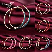 Wholesale New Designer Colorful Fluorescent Color Female Hoop Earrings for Women K GP Enamel Huggie Earring mm