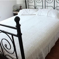 bedding coverlets - 100 Cotton Handmade Crochet Bedspread With Pillowcases Crocheted Coverlets Bed Linen White Lace Bedding Sets Fast Delivery