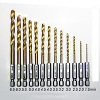 Nouvelle arrivée 13PC titane HSS Coated Forets Ensemble pour le métal avec 1/4