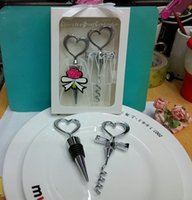 Wholesale Wedding Faovrs Gifts party supplies Heart Shape for Couple wine bottle opener and Stopper Sets sets