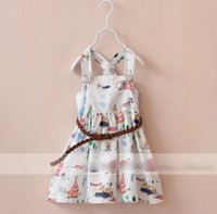 Wholesale 2015 Summer Suspenders Printed Dressy With Crochet Belt Girls Casual Party Dress Children Clothing Child Korean Fashion Clothes White M3479