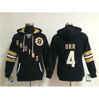 achat en gros de tir à la glace-Hot Girls Hockey noir Hoodies Bruins # 4 Bobby Orr Hockey sur glace porte confortable Femmes sportives Jerseys Cheap Pull Lace Up équipe capuche