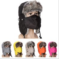Wholesale Mens Women Winter Caps Hats Warm Flange Bomber Hats Snow Outdoor Ski Cycling Hats Waterproof Thickened Earflap With Mask Imitation Fur