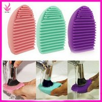 Wholesale Cute Brushegg Silicone Brush Cleaning Egg Brush egg Cosmetic Brush Cleanser Makeup Brush Cleaner Clean Tools