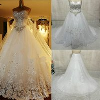 Wholesale Hot Sale Sweetheart Crystal beaded Custom made Luxury Ball gown Bridal Dresses Cathedral Train Wedding Dresses W0003