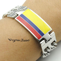 Wholesale Colombian flag Bracelet L Stainless Steel ID Chain High Polished Silver Plate Man Top Quality BB627