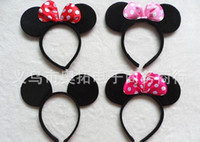 baby hair supplies - mouse ears headband hoop dance festival Childrenmickey and Minnie mouse ears headband baby headband Christmas birthday party supplies