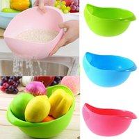 Wholesale Plastic wash rice Colander Strainer Sieve bright kitchen plastic drain vegatable basket Super practical Creative fashion