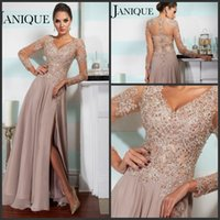 Wholesale 2015 Custom Made Lace Applique Bead V neck Long Sleeve Chiffon Formal Evening Dresses Sheer Illusion Back Sexy Party Prom Dress Gowns Slit