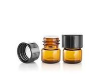Livraison gratuite, 1000sets / lot 1ML Ambre Mini Verre Bouteille, 1CC Ambre flacon d'échantillon, petite bouteille d'huile essentielle