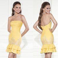Wholesale 2015 tarik ediz Short Party Dresses Sheath Strapless Homecoming Dress Sexy Custom Lace yellow Dress W4074