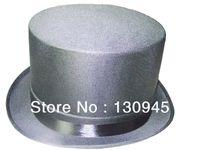 Negro-mayor de la manera sombreros de copa muy baratas con 12 cm de altura para hombres y Boyes con el desgaste en la escuela, fiesta, fiesta, boda, tela