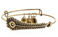 achat en gros de bracelets de paons-2015 Nouveau Alex et ani charme rétro Bracelet plumes de paon ajustable