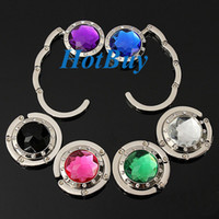 purse hanger wholesale - Portable Round Folding Purse Handbag Bag Accessory Hook Hanger