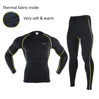 Wholesale Men Winter Thermal Warm Up Fleece Compression running Base Layers Shirts Running Sets Jersey Sports Suits