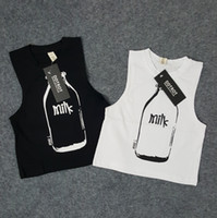 baby milk brand - Kids clothing for boys and girls milk bottle printed vest cotton sleeveless t shirt m y children black white tank tops baby outfits