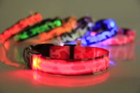 Wholesale Colorful Pet Dog LED Collar Glow Cat Collars Flashing Nylon Neck Light Up Training Collar for dogs