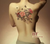 Wholesale ex perfume for women large color Peony flower butterfly designs Temporary tattoo stickers body back painting MQA26 drawings Waterpro