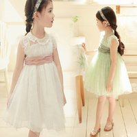 Wholesale Wholesales Kids Clothing girls spring summer cotton lace elegant princess vest party dress tutu dress with bow belt NT