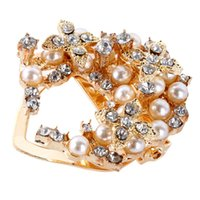Wholesale Exquisite Gold Pearl Crystal Design Resin Rhinestone Buckle Brooch Pin Brooches Hot