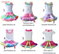 al por mayor sistema de la muchacha tutú verde-Las muchachas al por mayor Pettiskirt fijaron la falda y el rosetón del tutú del arco iris del verde del bebé se dirigen la ropa 5 de los cabritos