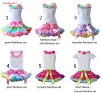 achat en gros de tutu vert ensemble fille-Vente en gros Girls Pettiskirt Set bébé enfants Green Rainbow Tutu Jupe et Rosette Tops Enfants vêtements 5 ensemble