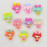 Other Beads Fashion 200pcs lovely girl w  bunny bow headbandkawaii resin Cabochons (21mm) Cell phone decor,hair accessory,embellishment,DIY