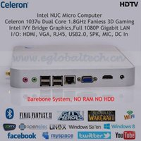 barebone case - NUC Mini PC Barebone C1037U Dual Core GHz Fanless Intel IVY Bridge Graphics D Gaming Realtek Network P Silver Alloy Case