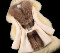Wholesale Autumn Ladies Natural Rabbit Fur Coat Jacket Raccoon Fur Collar Winter Women Fur Trench Outerwear Coats Plus Size