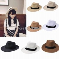 Wholesale Fashion Summer Casual Unisex Beach Trilby Large Brim Jazz Sun Hat Panama Paper Straw Sunhat Women Men Cap with Black Ribbon