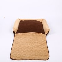 Wholesale Brown Pet Dog Sofa Bed Faux Suede Bed House Sofa Detachable and Washable Pet Cushion Mat All in One Design with Four Sizes Doghouse