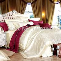 al por mayor edredón de la reina establecer moderna-Bordado sistemas del lecho 4pcs set edredón color sólido leche boda moderna blanca sábana reina la ropa de cama rey MFH Lujo