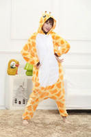 Wholesale Cartoon Animal Giraffe Unisex Adult Flannel Onesies Onesie Pajamas Kigurumi Jumpsuit Hoodies Sleepwear For Adults Welcome Order