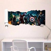 venda por atacado iron art-Os Vingadores 3D da etiqueta da parede Decor Art Mural Homem de Ferro Hulk para meninos Quarto