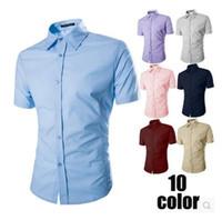 Wholesale 2015 New Street Fashion Men Shirt Short Sleeve Turndown Collar Shirt Black White Blue Dress Shirt