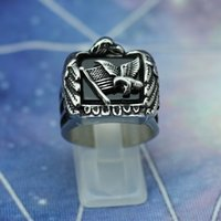Wholesale Cool Flying Eagle L Stainless Steel Punk Style Biker Ring for Men Great Quality Best Gifts