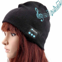 Cheap Hot Men Women Bluetooth Music Hats Wireless Beanie Hat Headphone Headset Speaker Mini Wireless Audio Cap Exquisite Packaging DHL Shipping
