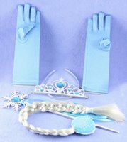Wholesale Crown Elsa children role play hairpiece gloves Wand Kit Christmas toys